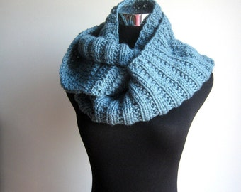 Blue Cowl Scarf, Knit Infinity Scarf, Womens Accessories, Dusty Blue Knit Circle Scarf, Knit Fall Fashion, Winter Accessories