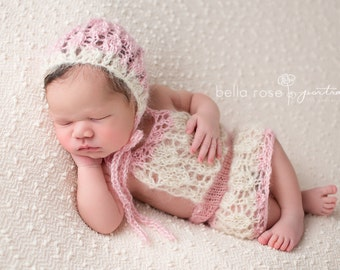 Spring Lace Newborn Outfit Bonnet Set Photo Prop Knit Mohair Baby Hat Baby Girl Knitted Coming Home Skirt Hand Knitted Going Organic Hood