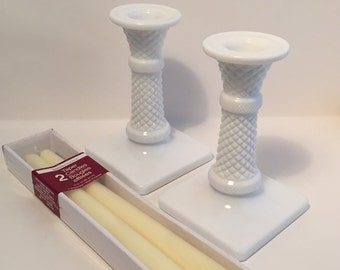Milk Glass Candle Holders