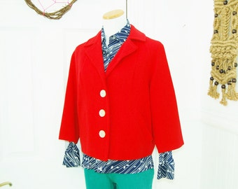 60s Lipstick Red Best & Co Boxy Short Jacket W/ Three Quarter Sleeves (M)
