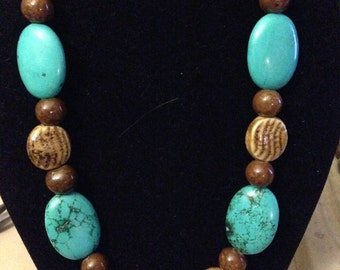 Necklace - Turquoise and Brown Porcelain 1