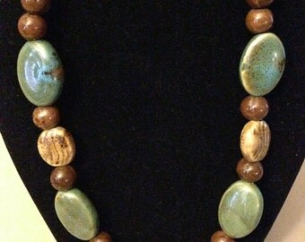 Necklace - Turquoise and Brown Porcelain 4