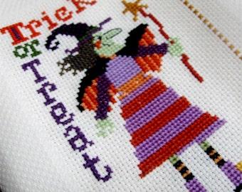 Vintage Kitchen Towel Tea Towel Halloween Witch Trick or Treat Cross Stitch Orange Purple Green