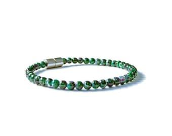 Green/Purple Picasso Magnetic Hematite Bracelet, Holistic Jewelry
