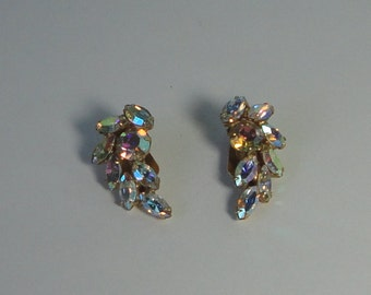 Vintage Gold tone AB Rhinestones Clip Earrings.