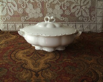 Haviland Limoges France Covered Casserole, Vegetable Dish, White Blank, Circa 1894 Backstamp , Impressed R-2