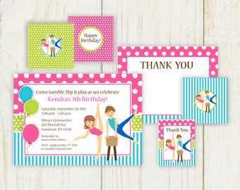 Boy and Girl Gymnastics Invitation and party items printable - Digital files