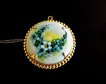 Vintage Porcelain Cameo Necklace, Yellow Rose Floral Victorian, Costume Jewelry Accessories, Casual Jewelry, Hand Painted Porcelain