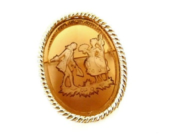 Vintage Intaglio Cameo Brooch with Amber Glass, Reverse Carving, Jewelry Accessories, Costume Jewelry, Accessories