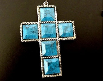 Vintage Necklace Pendant with Cross Blue Turquoise, Costume Jewelry, Jewelry Accessories, Blue Jewelry, Choker Pendant, Ladies Jewelry