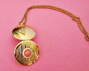 Vintage Necklace Locket Pendant, Pink Necklace, Signed Necklace, Victorian Locket, Costume Jewelry Accessories, Cottage Chic Jewelry