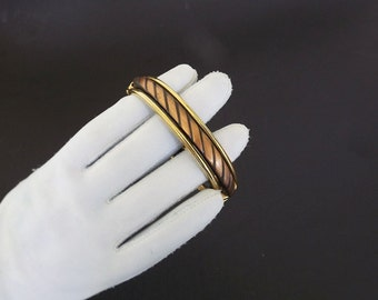 Vintage Bangle Bracelet, Clamp Hinged, Two Tone Copper and Gold, Casual Dressy Costume Jewelry, Ladies Womens Accessories
