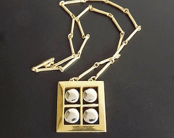 Vintage Necklace with Stick Link Chain, Window Pane Pendant, Geometric Pendant, Costume Jewelry Accessories, Retro 1960 Jewelry