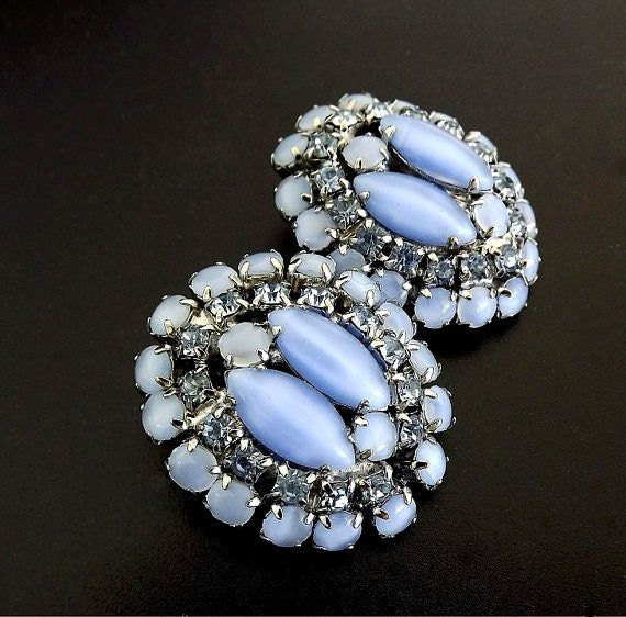 vintage blue clip on earrings costume jewelry vintage