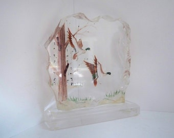 Vintage Collectible Home Decor Lucite Geese Signed Wald