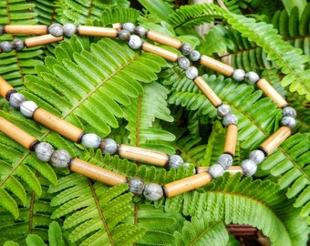 Kauai Bamboo Jewelry - Hawaiian Bamboo and Jobs Tears Necklace