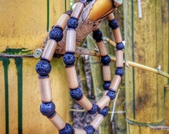 Kauai Bamboo Jewelry - Hawaiian Bamboo and Lava Bracelet