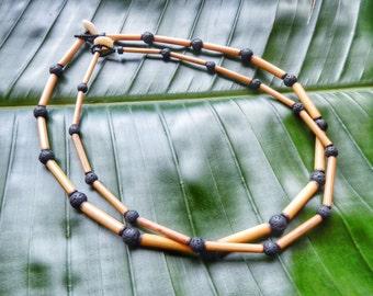 Kauai Bamboo Jewelry - Hawaiian Bamboo and Lava Necklace