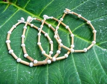 Kauai Bamboo Jewelry - Hawaiian Bamboo and Pearl Anklet