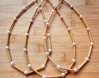 Kauai Bamboo Jewelry - Hawaiian Bamboo Pearl and Sterling Silver Necklace