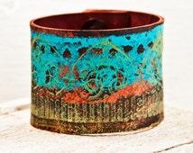 Boho Bracelets Cuffs Hand Painted Leather Bands - 2016 Valentine's Gift - Gypsy Women's Wrist Cuffs Handpainted Leather Goods - Rainwheel