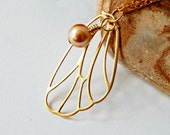 Golden Butterly Wing Necklace with Bronze Pearl