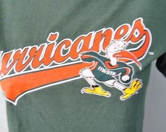 Faded Miami Hurricanes Green Tee Vintage TShirt Florida Youth large Ladies SMALL