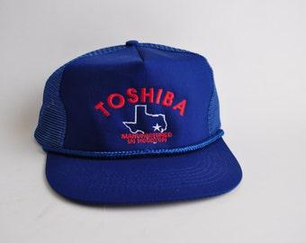 Vintage Mesh Baseball Cap Snapback 80s Trucker Hat Toshiba Houston Texas Tx Navy Blue Dark
