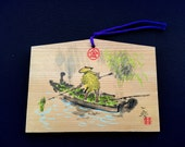 Japanese Wood Plaque - Ema - Shrine Plaque - Yasui konpira Shrine - Lucky Charm - E7-4
