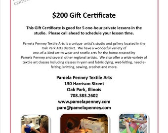 Gift Certificate - 5 One Hour Lessons