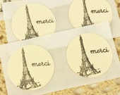 Eiffel Tower Stickers Mini 1 Inch Merci French Inspired Thank You Seals Set of 20 Ivory Labels