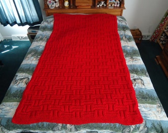 Cherry Red Hand Knitted Long Basketweave Afghan, Blanket, Throw - Home Decor - Shipping Included