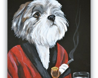 11x14 custom painted pet portrait Pet in COSTUME or OUTFIT sample on 11x14 canvas