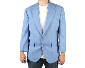Vintage 80s Blazer 40S Wool Blend Light Sky Powder Blue Jacket Sports Coat Sz M Free US Shipping