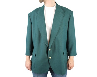 Mens Vintage Blazer 50S Teal Blue Green Wool Coat Jacket Portly Extra Short 50PS Free US Shipping