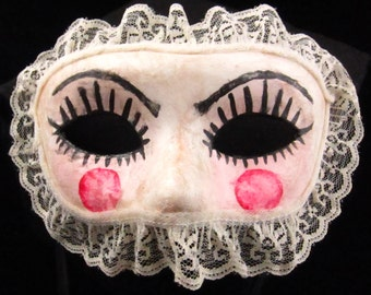 French Babydoll Stick Mask, Faux porcelain baby doll faced paper mache masquerade mask with stick