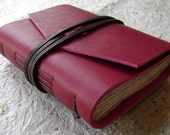 "Small Leather Journal, 3.5""x 4.5"", red, handmade journal by Dancing Grey(1619)"