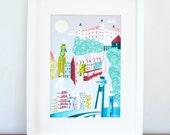 Bratislava print, Slovakia, Wall Art, Paper Print, Poster, Skyline, Poster illustration, Art For Home, Office and Nursery BRPPS01