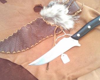 Bison Leather Knife Sheath - Badger Spirit Medicine