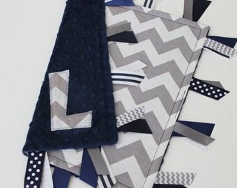 Taggie, blanket, baby, chevron, navy, minky, ribbon, tags, sensory, gift, lovey
