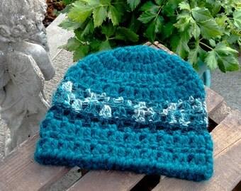 Womens Winter Hat, Alpaca Wool Beanie, Teal, Hand Crocheted, Ready to Ship
