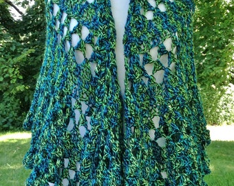 Half Moon Alpaca Shawl, Pure Alpaca Wrap, Blue/Green/Black, Lace Shawl