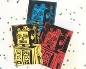 Linocut Robot Card - Hand Printed Card, Robot Birthday Card, Lino Print Card,