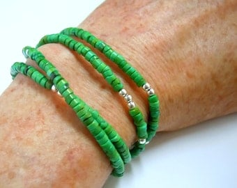 Turquoise wrap bracelet or necklace with sterling silver toggle clasp