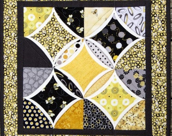 Cathedral Window Table Topper, Quilted Centerpiece, Table Mat, Yellow and Grey