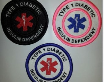 U-Pick-Colors-Embroidered-Sew-On-Patch -Type 1 DIABETIC INSULIN DEPENDENT