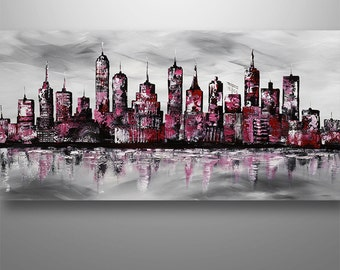 Abstract Cityscape, Abstract Painting, Cityscape Painting, Skyline Painting, Wall Decor, Home Decor, Abstract Wall Art,Black White red, art