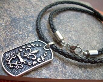 Fleur De Lis Necklace, Mens Jewelry, Mens Necklace, Braided Leather Necklace, Fleur De Lis Pendant,Stainless Steel, Groomsmen, Mens Gift