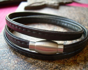 Stitched Nappa Leather Wrap Bracelet with a Stainless Steel Magnetic Clasp,Mens Bracelet,Leather Bracelet,Womens Bracelet, For Him, Leather