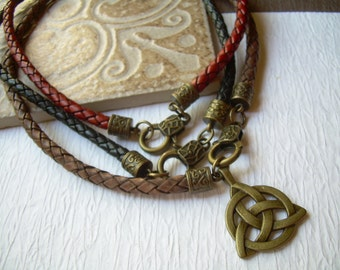Mens Braided Leather Necklace with an Antique Bronze Triquetra Pendant,  Leather Necklace, Mens Necklace,Triquetra,Mens Jewelry, Mens Gift,